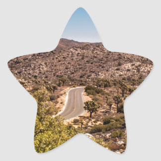 Joshua tree lonely desert road star sticker