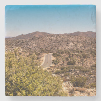 Joshua tree lonely desert road stone coaster
