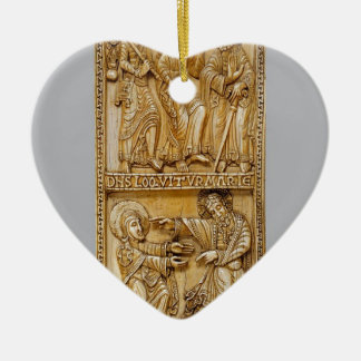 Journey to Emmaus and Noli Me Tangere Ceramic Heart Decoration