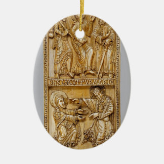 Journey to Emmaus and Noli Me Tangere Ceramic Oval Decoration