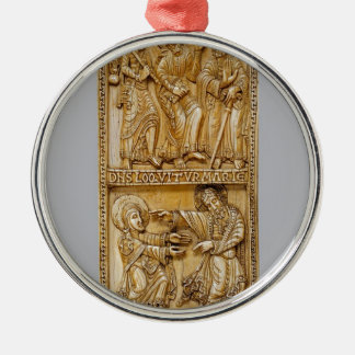 Journey to Emmaus and Noli Me Tangere Silver-Colored Round Decoration