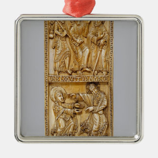 Journey to Emmaus and Noli Me Tangere Silver-Colored Square Decoration