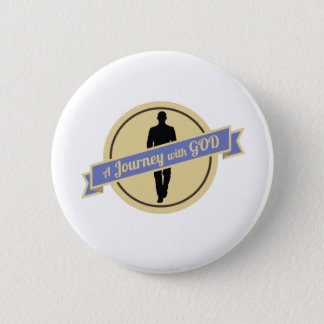 Journey With God With Man Walking (Button) 6 Cm Round Badge