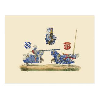 Jousting Knights - Mediaeval Theme Postcard
