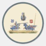 Jousting Knights - Mediaeval Theme Round Sticker
