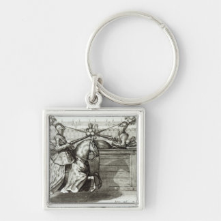 Jousting Tournament in a square Keychain