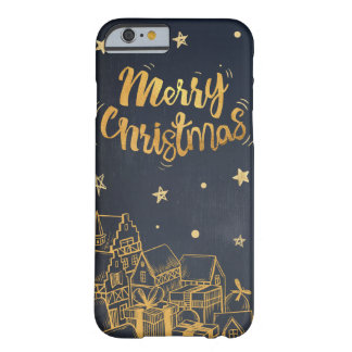 Jovial golden Merry Christmas village of gifts Barely There iPhone 6 Case