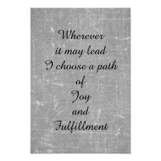 'Joy and fulfillment' poem art poster. Poster