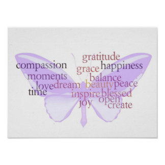 Joy and Gratitude Butterfly Poster