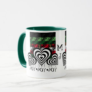 Joy and Jingle Holiday Green Monogram Mug