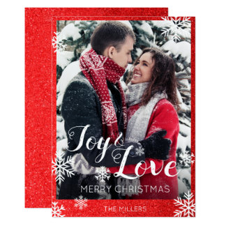 Joy and Love Red Glitter Snowflakes Christmas Card