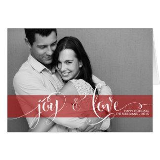 Joy and Love Typography Holiday Photo Folded Card