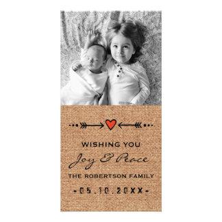 Joy and Peace Black Burlap Arrows Hearts Paper Customized Photo Card