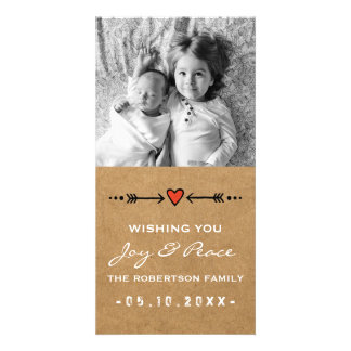 Joy and Peace Christmas White Arrows Hearts Paper Photo Greeting Card