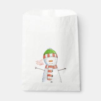 Joy and Peace | Cute Snowman Christmas Favour Bag