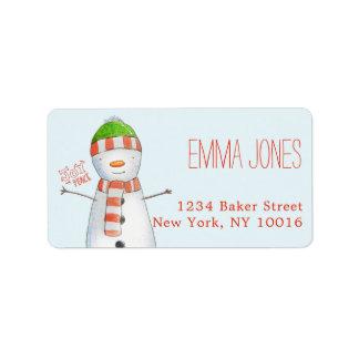 Joy and Peace   Cute Snowman Christmas Label