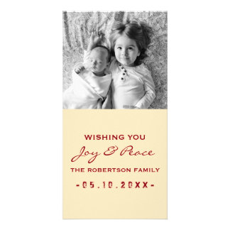 Joy and Peace - Photo Christmas Cream Red Picture Card