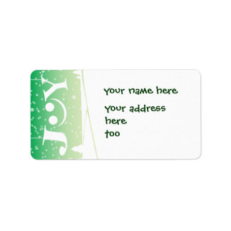 joy and snowflake Christmas green address label