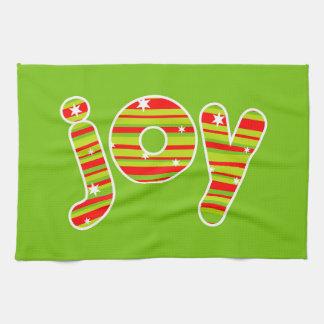 JOY at Christmas, Red & Green Stripes Tea Towel