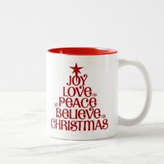 Joy Believe Christmas Two Tone Coffee Mug