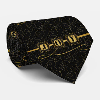 Joy Black and Faux Gold Leaf with Swirls Holiday Tie