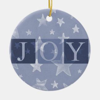 Joy Blue Stars Christmas Ornament