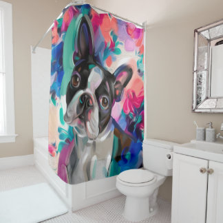 'Joy' Boston Terrier colorful shower curtain