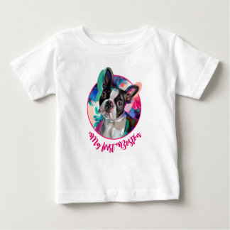 'Joy' Boston Terrier Dog Art Baby T-shirt