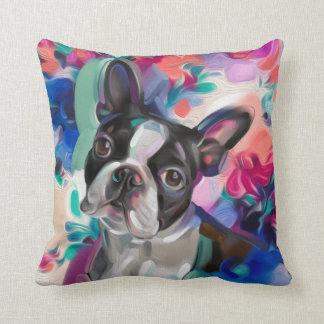 'Joy' Boston Terrier Dog Art pillow
