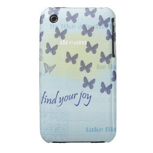 Joy Butterflies Blue Case-Mate iPhone 3 Case