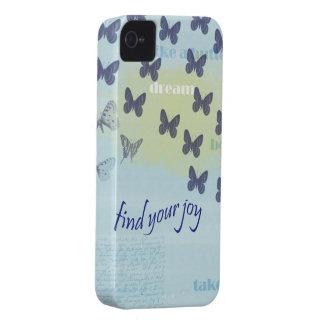 Joy Butterflies Blue iPhone 4 Case