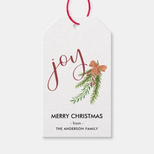 Joy Calligraphy I Watercolor Christmas Greens Gift Tags