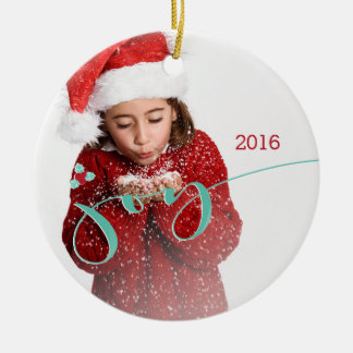 Joy! Candy Canes and Holly Round Ceramic Decoration