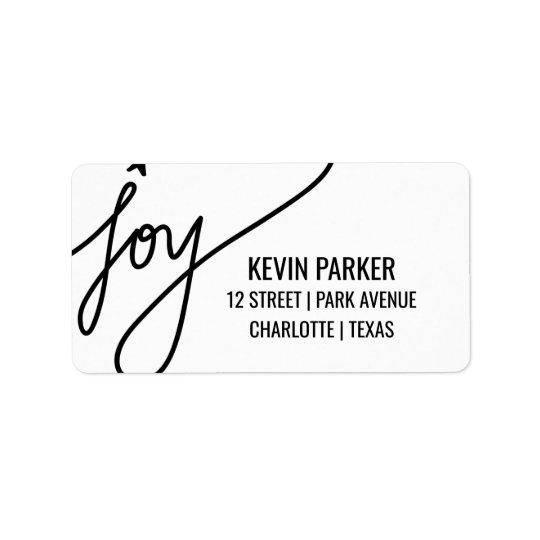 Joy Casual Black Typography Holiday Label