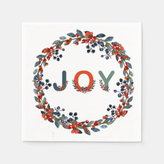 Joy Christmas Berries Wreath Holiday Party Disposable Napkin