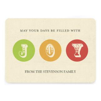 Joy Christmas Card Green Yellow Red
