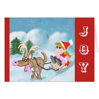 Joy Christmas Card with Sledding Girl and Dog