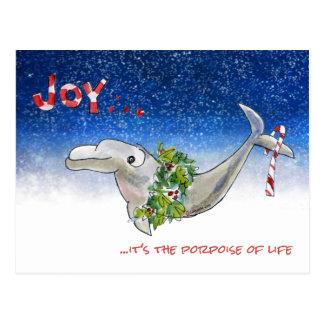 Joy Christmas Dolphin Porpoise of Life Stars Postcard