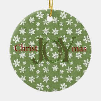 Joy Christmas Green and White Snowflakes Ornament