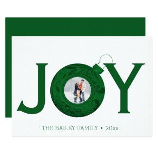 Joy Christmas Photo Green Holiday Greeting Card