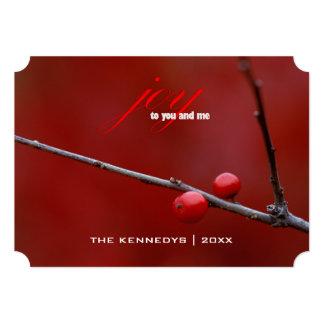 Joy - Closeup of two winterberry holly berries 13 Cm X 18 Cm Invitation Card
