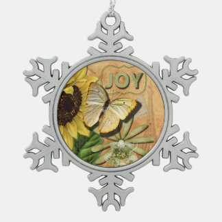 Joy Collage, Vintage Eiffel Tower and Butterfly Snowflake Pewter Christmas Ornament