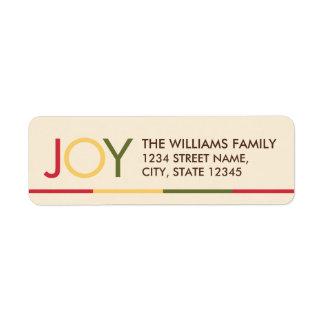 'JOY' Colorful Festive Christmas Return Address Label