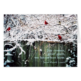 """""""Joy comes, grief goes, we know not how."""" Card"""