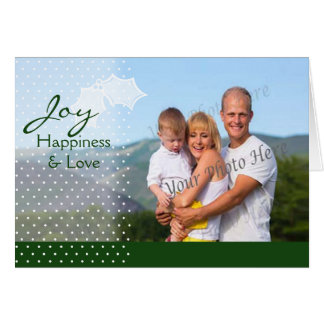 Joy Dots and Holly Green with Photo Greeting Cards