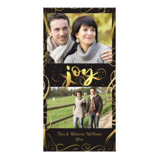 JOY, Elegant Gold Flourish on Changeable Brown Card