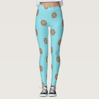Joy Expression Mandala Aqua Leggings