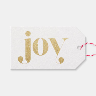 Joy Faux Gold Glitter Typography | Festive Holiday Gift Tags