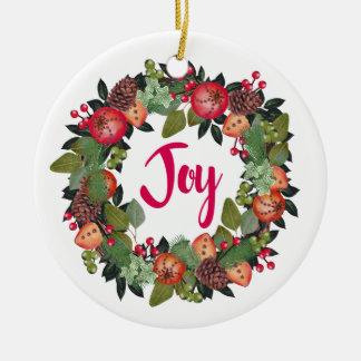 Joy Floral Christmas Ornament