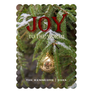 Joy - Gold glass Christmas ornament Evergreen Tree 13 Cm X 18 Cm Invitation Card
